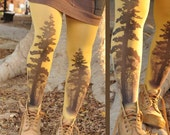 Woodland - Printed Tights - TREE Tights- size One Size full length tights.