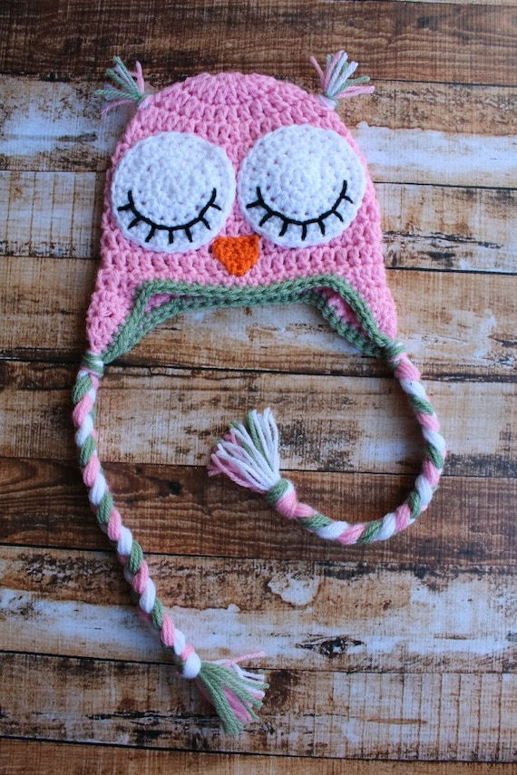 Adorable Girls Sleepy Owl Hat with Earflaps Pink, Green and White.
