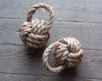 "Nautical Book End Rope Monkey Fist Hand Knotted 6 "" Diameter Door Stop Beach Decor Nautical Nursery"