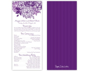 Purple Wedding Programs with Modern Flower Design, Tea Length Programs or Reception Menus, Simple Design with Pinstripes - Style PIL-024