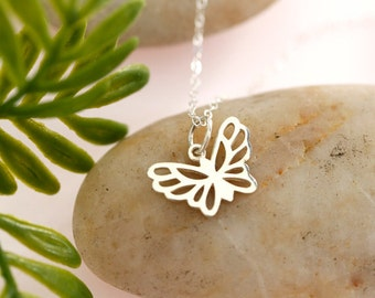 Tiny Sterling Silver Butterfly Necklace, simple, everyday