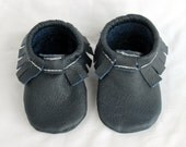 Navy Blue Genuine Real Leather Moccasins, Moccs, Shoes