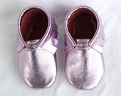 Sparkly, Metallic, Metal, Rose, Light Pink Genuine Real Leather Moccasins, Moccs, Shoes
