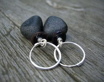 Pearl and agate and silver earrings, primitive earrings, zen earrings, geometric , nature inspired earrings, peacock pearls - Zen
