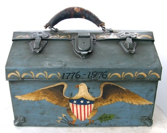 AMERICAN TOOL BOX Folk Art Hand Painted Chest American Bicentennial Eagle & Flag 1776-1976 Artist Signed Teal Blue Leather Handle Unique