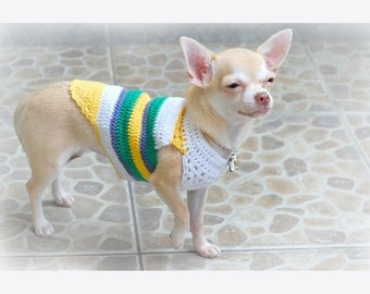 Teacup Dog Clothes XXS, Striped Shirt Cotton Chihuahua Sweater, Crocheted Clothes for Cats, Dachshund Clothes Myknitt DK812 Free Shipping