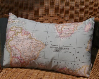 World map pillow cover - world map cushion cover - as seen in Marie Claire - decorative pillows - blue pillow cover - decorative map pillow