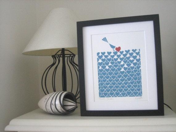 Love Garden Pastel Color Gift - Linocut Print , Bird & Red Heart, Soft Blue Field,Original Lino Print,Love, Original Art- Printmaking