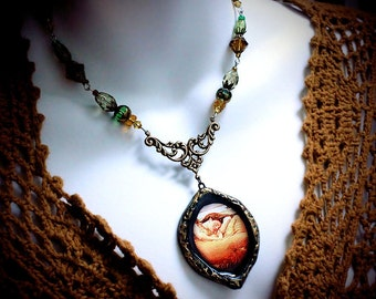 Flaming June, Pre-Raphaelite pendant necklace, Victorian jewelry, romantic, Sir Frederic Leighton, amber glass, green beads, antique brass