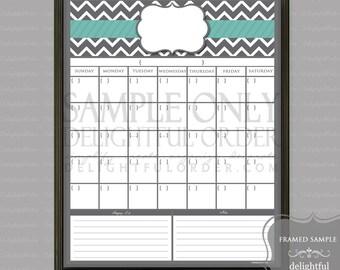 Digital Dry Erase Calendar  - 16x20 Teal- Chevron - Calendar Message Center -  JPEG Digital/Printable File - Instant Download