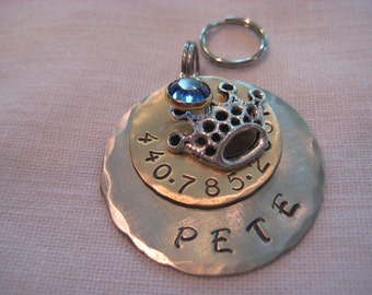 Pet Tag- Hand Stamped Brass and Nickel Discs with Crown Charm and Crystal