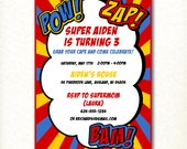 CUSTOM Superhero Birthday Party Invitation
