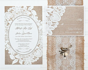 Burlap and Lace Wedding Invitations, Budget Invitation, Invitation Set, with RSVP cards and address labels