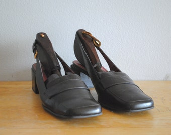 Vintage Etienne Aigner Brown Leather Alert Sling Back Loafers Size 9