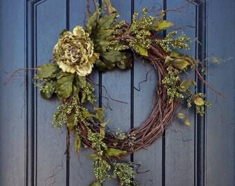 Spring-Summer-Fall Wreath Green Berry Twig Grapevine Door Wreath Decor Green Peony Wispy Branches Door Decoration Indoor Outdoor Decor