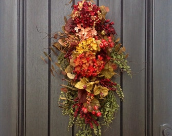 "Fall Wreath-Autumn Wreath Thanksgiving Teardrop Wreath- Vertical Door Decor-Use Year Round Swag Decor..""Autumn Enchantment"" Floral Swag"