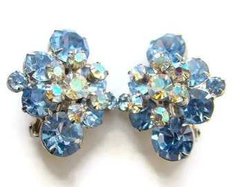 Juliana DeLizza & Elster Rhinestone Clip Earrings Sapphire Blue Floral Spray