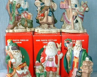 Vintage Santas of the Nations, Hand Painted Porcelain, Complete Set of 6 from 1991