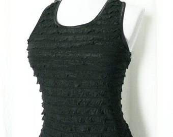 Vintage 90s does 20s Mini Dress S Ruffled Black Racerback Fitted
