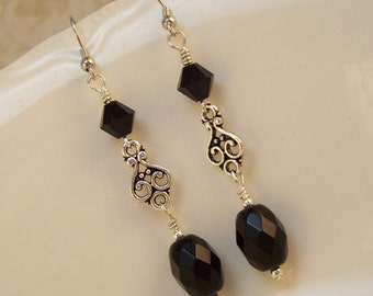 Black Dangle Earrings - Elegant Black Faceted Black and Jet Swarovski Crystals