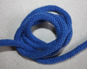 5 mm BLUE Cotton Rope = 6 Yards = 5.49 Meters of Elegant Cotton Braided Cord - Bulky Yarn - Super Bulky Yarn - Macrame Cotton Cord