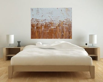 MADE TO ORDER: Metallic Gold Copper Bronze and White Original Art Work Abstract Landscape Ocean Sand Sea Art