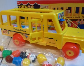Vintage Fisher Price Bus w little people, New in Box, never used,1980s