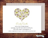 Printable Simple Hearts- Bridal Shower Invite (digital file) DIY Printing at home or your choice of printer
