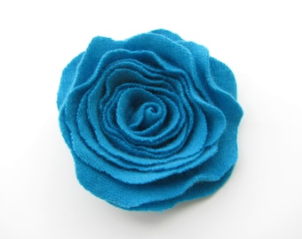 Cashmere Felted Wool Rose Brooch Turquoise Blue Recycled Wool Flower Pin
