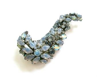 Schreiner Brooch Blue Moonstones Rhinestones // Fine Mid Century Costume Jewelry