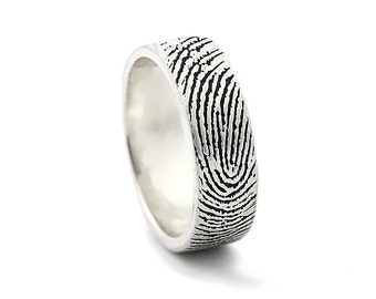 Two Fingerprints Ring - Sterling Silver Engraving Wedding Band- satin, antique blackened,6mm