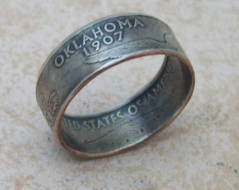 Made To Order CoPPeR NiCKLe HaNDMaDe Jewelry OKLAHOMA STaTe QuaRTeR RiNG CHRiSTMaS GiFT or SToCKiNG STuFFeR You Pick the SiZe 5-10