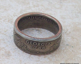 Made To Order Copper Nickle Handmade Jewelry Georgia State Quarter Ring Valentinesday Gift  You Pick the Perfect Size 5-10
