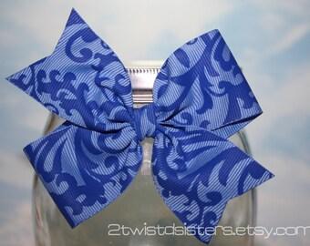 Blue Damask Bow