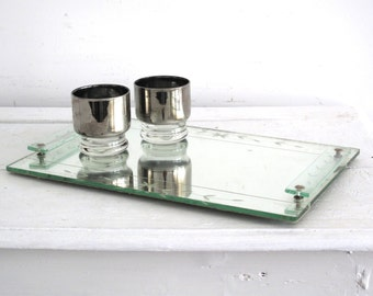Vintage Mirror Tray - Etched Art Deco Decor - Perfume Mirror Tray