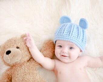 Blue Bear Hat (fits 0-4 months)