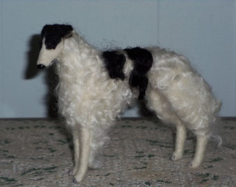 Borzoi needle felted dog example custom made to order