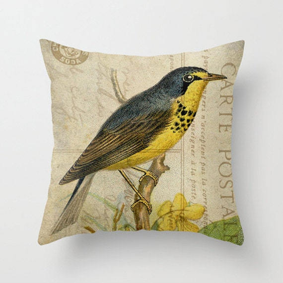 Yellow Bird Throw Pillows : Throw Pillow Cover Blue and Yellow Bird on Vintage by adidit