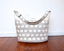 Diaper or Nappy Bag / Daycare Bag - Gray Elephants (Made to Order)