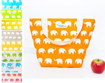 Insulated Lunch Tote Bag with Waterproof Lining - Elephant (Choose Your Size and Color!)