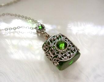 Vintage Inspired Silver Filigree Green Crystal Perfume Bottle Necklace