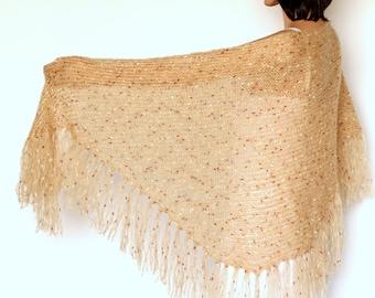 Crochet Shawl wrap Beige Fringe  Shawl Fringe scarf Knit shawl  Wraps shawls Beige shawl Tan shawl Crocheted Shawl