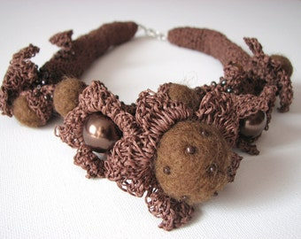 Fine Art  Chocolate Garden - organic linen  Crochet Necklace OOAK