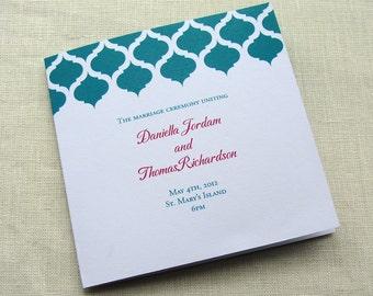 Elegant Wedding Program - Modern Vintage Ceremony Program - Indian Arch Moroccan Style - Square