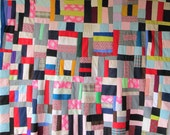 Vintage POLYESTER KNIT STRIP Quilt Top - Full of Pretty Retro Fabrics
