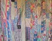 ANTIQUE Vintage STRIP Quilt BEAUTIFUL Old Fabrics Possible Cutter
