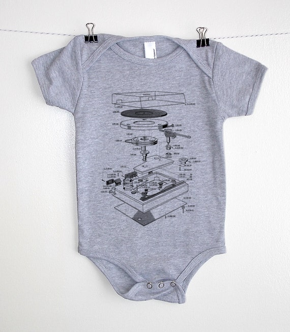 Baby Onesie - Vinyl Record Turntable Diagram - Screen Printed Baby One Piece