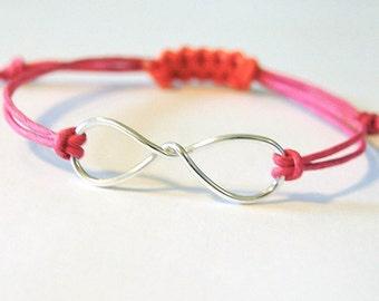 Infinity bracelet, sterling silver infinity, adjustable infinity bracelet, custom cotton cord, infinity bracelet, teen infinity bracelet