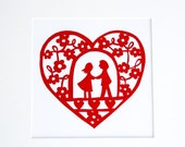 Loveheart paper cut art, couple holding hands
