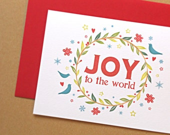 Christmas Cards, Holiday Cards, Christmas Wreath, Joy to the World Rustic Christmas Cards, 25-Count